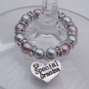 Special Grandma Wine Glass Charm - Full Sparkle Style